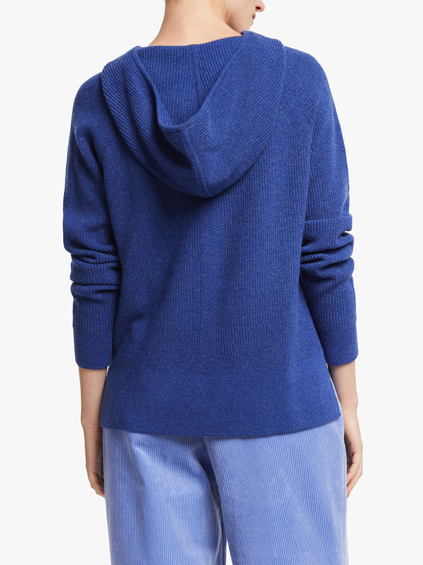 Buy John Lewis & Partners Cashmere Hooded Sweater, Twilight Blue, S Online at johnlewis.com