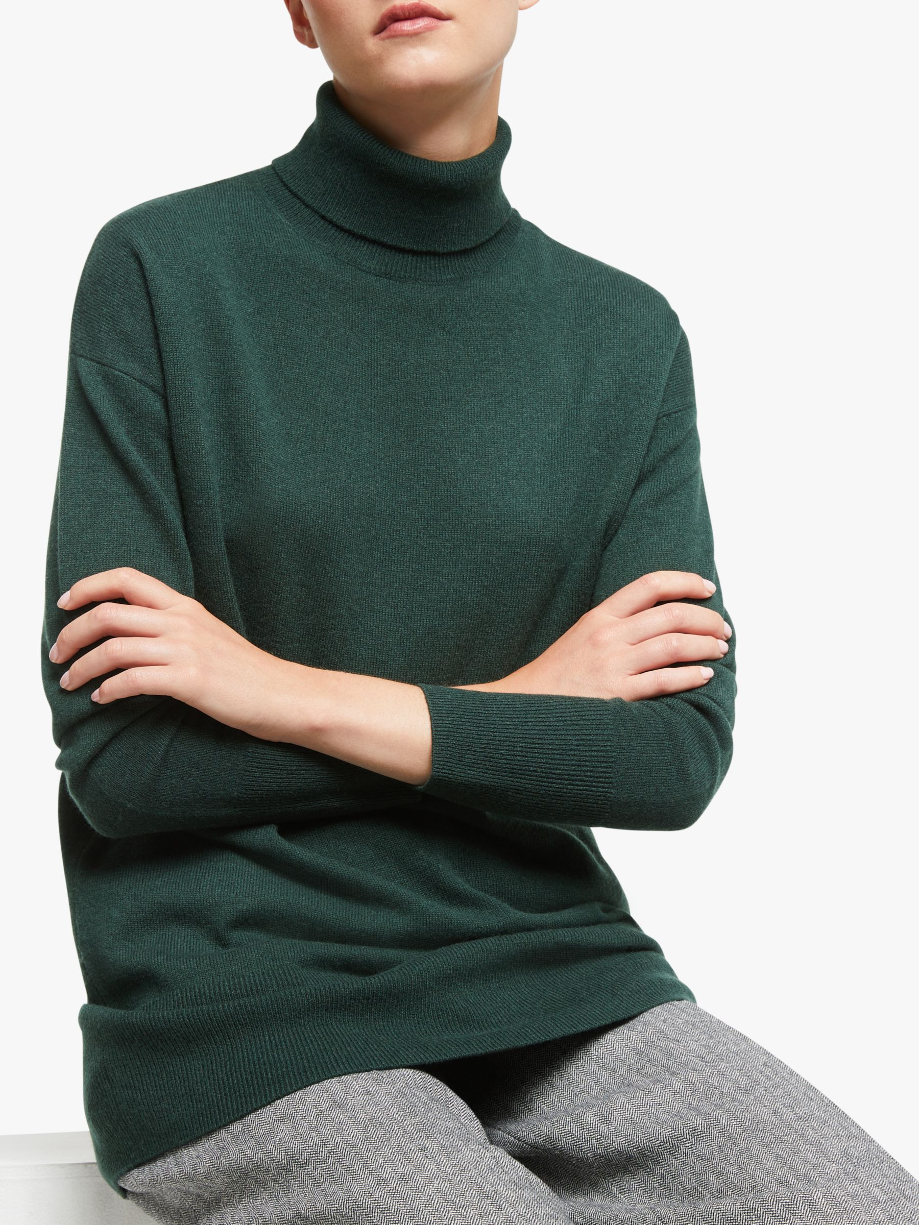 John Lewis & Partners Cashmere Relaxed Roll Neck Sweater at