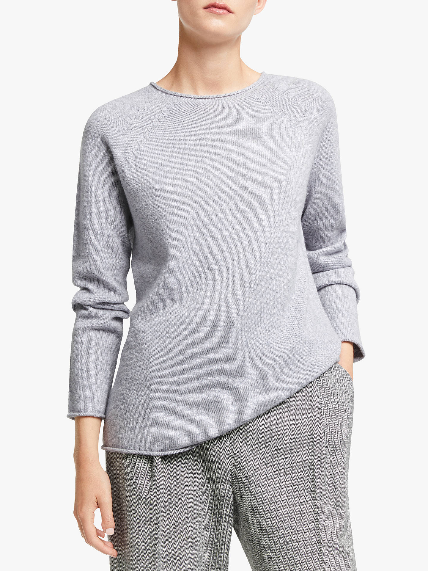 Buy John Lewis & Partners Cashmere Crew Neck Sweater, Pale Grey, 8 Online at johnlewis.com