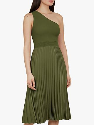 Ted Baker Miriom Asymmetric Shoulder Pleat Dress, Khaki