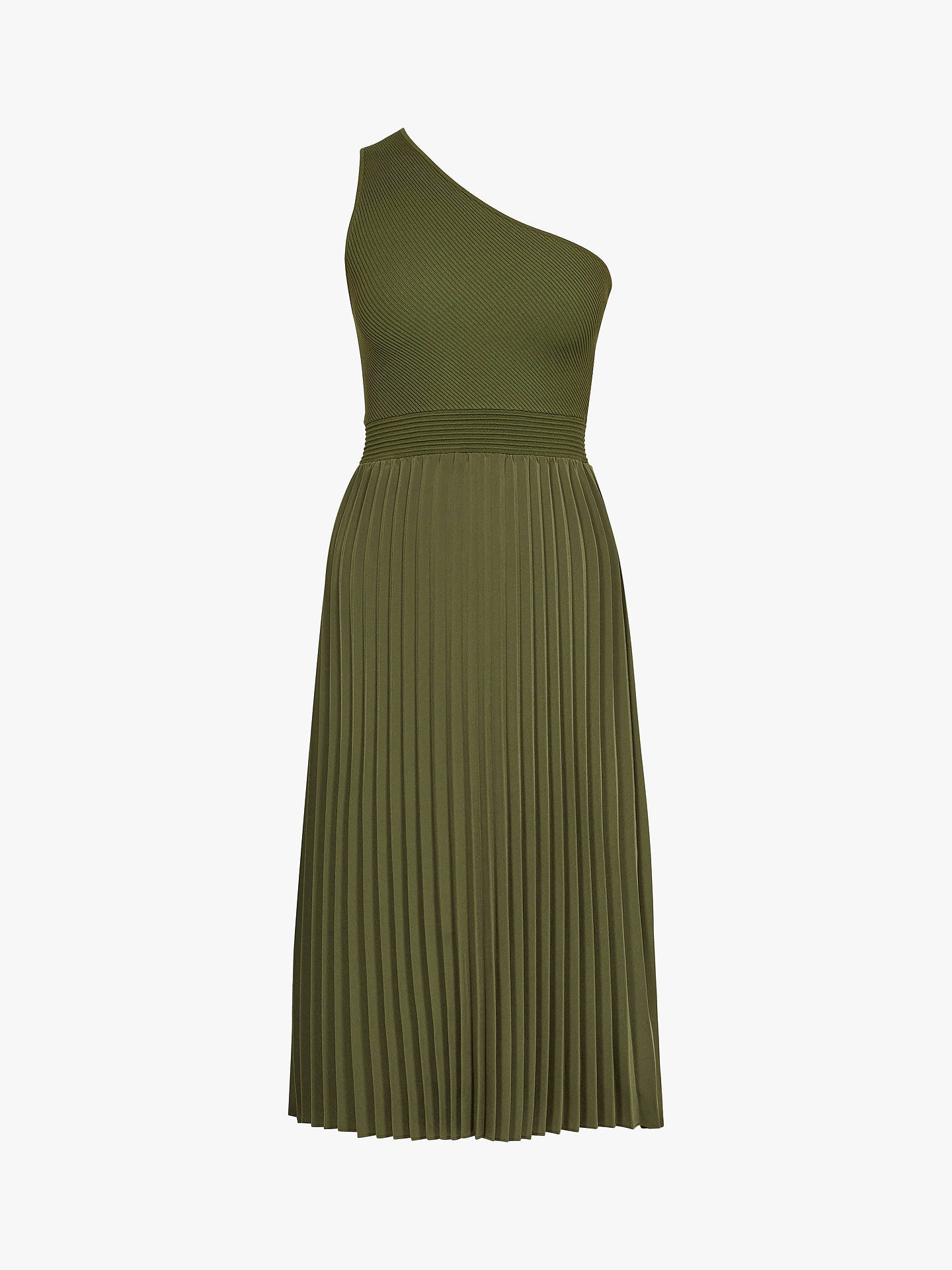 a0795a85 Buy Ted Baker Miriom Asymmetric Shoulder Pleat Dress, Khaki, L Online at  johnlewis.
