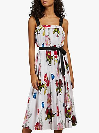 Ted Baker Melbii Tie Strap Floral Trapeze Dress, White