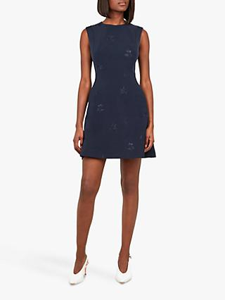 Ted Baker Saahrad Embroidered Floral Shift Dress, Navy