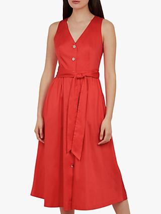 Ted Baker Ryylie Button Midi Dress, Bright Red