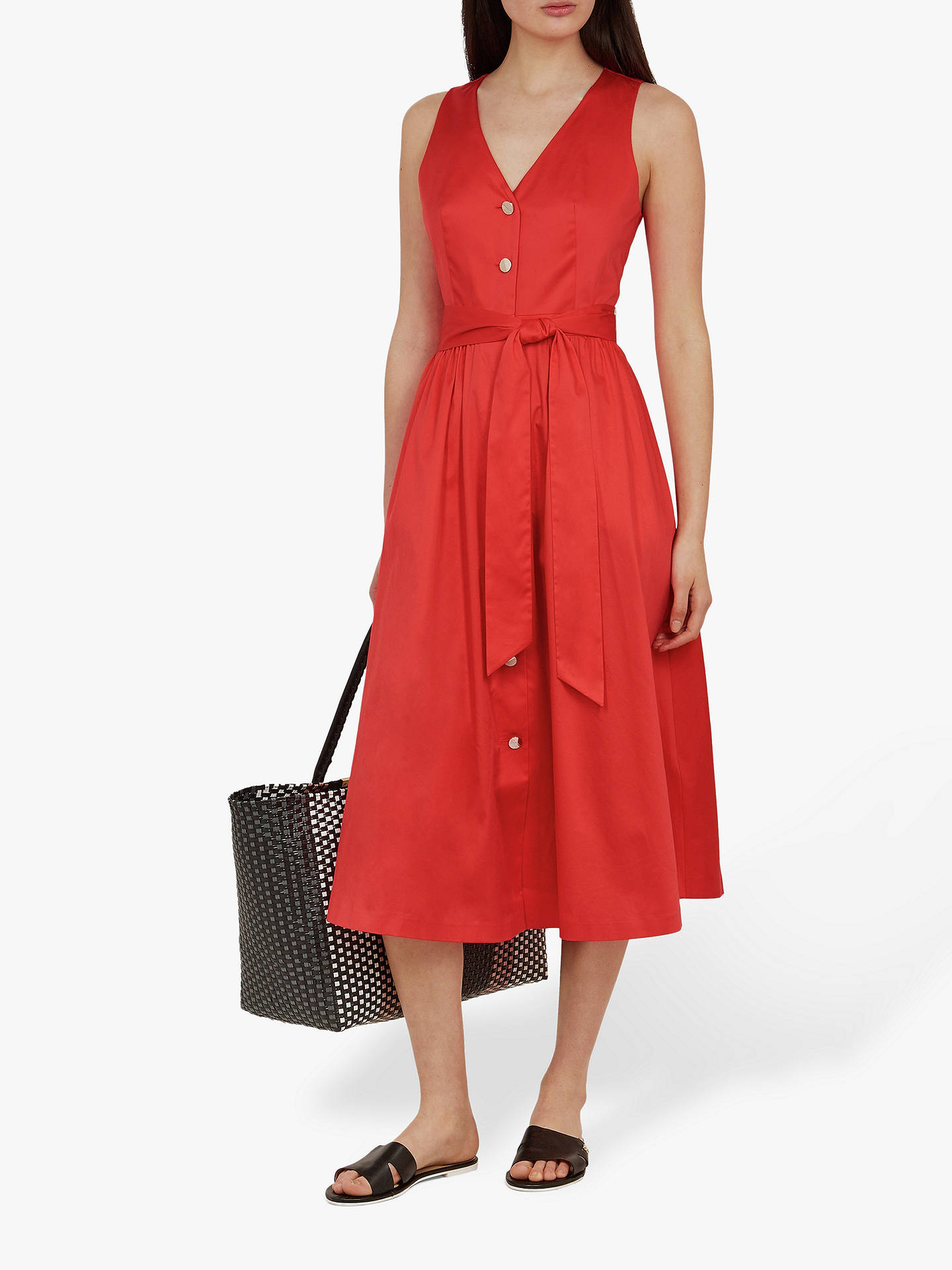 Buy Ted Baker Ryylie Button Midi Dress, Bright Red, L Online at johnlewis.com