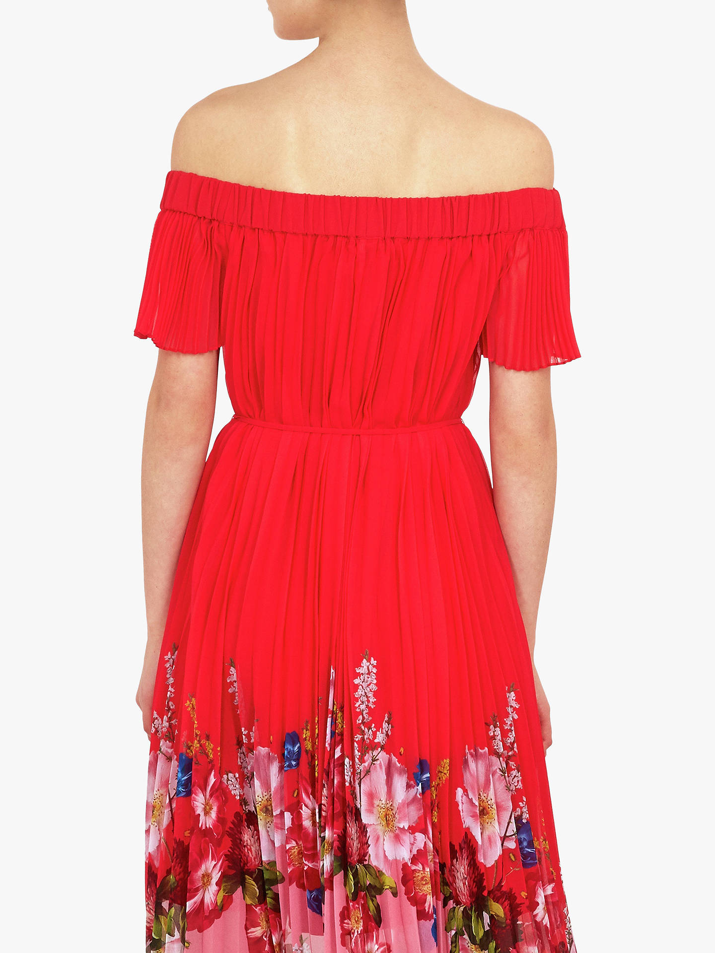 f1fea6c9f71 Ted Baker Gillyy Bardot Floral Dress, Red at John Lewis & Partners