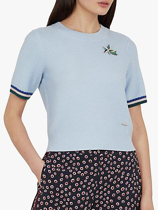Ted Baker Colour By Numbers Ilyra Shooting Star Crop Jumper, Light Blue