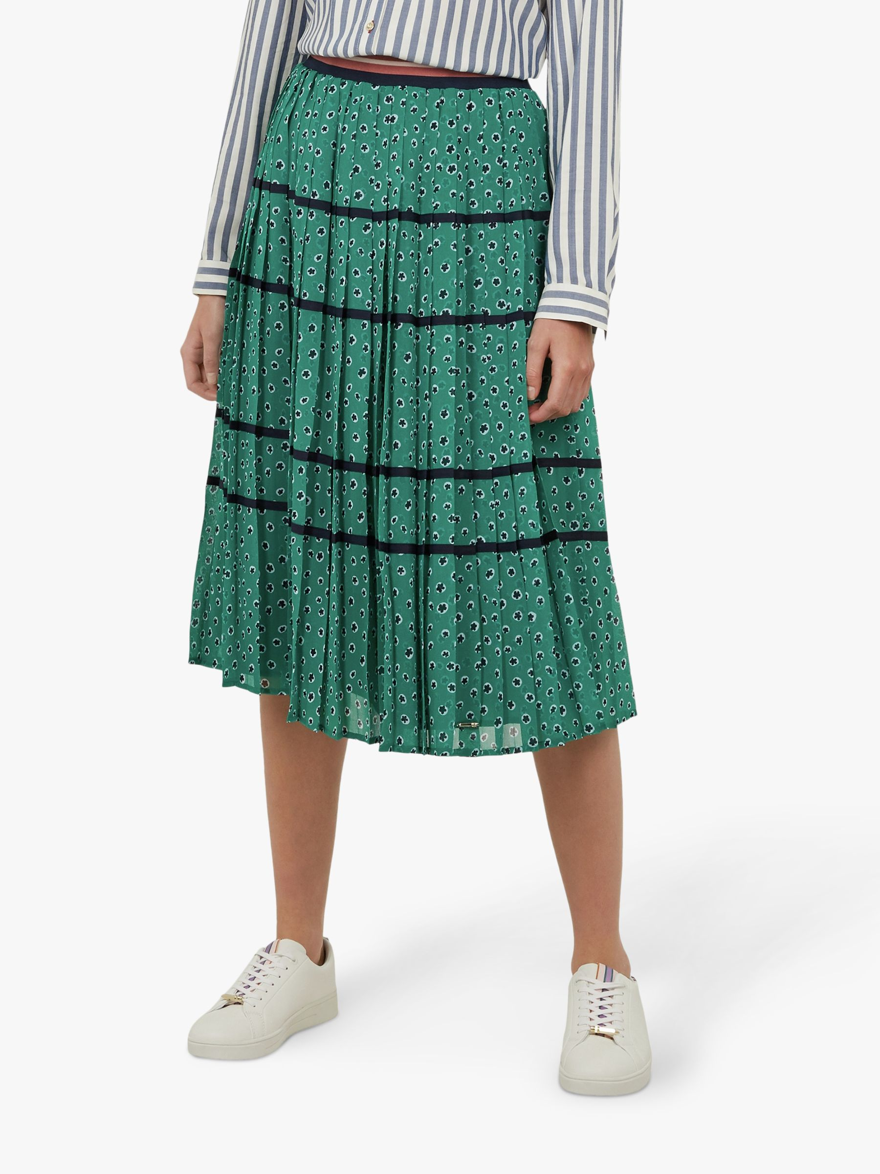 f8da5d717 Ted Baker Colour By Numbers Talarla Floral Dot Pleated Midi Skirt, Green at  John Lewis & Partners