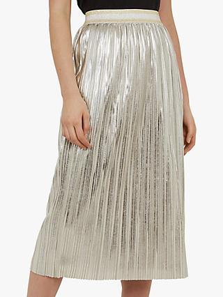 246d65a895 Ted Baker Ariana Metallic Pleated Midi Skirt, Light Grey