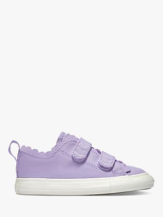 Converse Junior Chuck Taylor All Star 2V Frilly Thrills Riptape Trainers, Washed Lilac