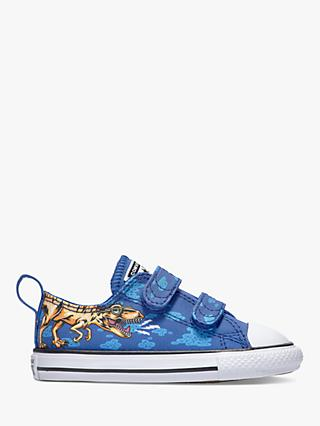 Converse Junior Chuck Taylor All Star Dino Beach Party Riptape Trainers, Blue/Black/White