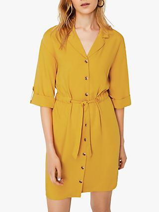 Warehouse Lapel Collar Dress, Mustard
