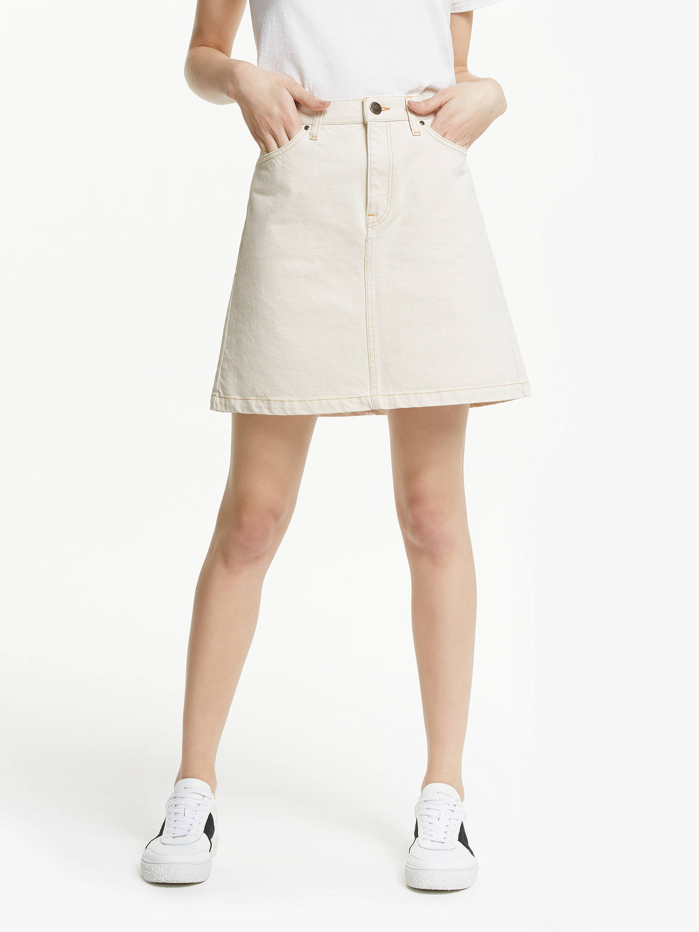 c078954111 Buy Lee A-Line Denim Skirt, Off White, 27 Online at johnlewis.