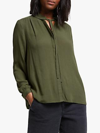 Collection WEEKEND by John Lewis Easy Tie Neck Blouse, Khaki