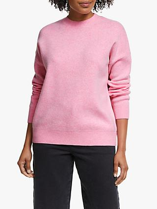Collection WEEKEND by John Lewis Crew Neck Boxy Sweater, Soft Pink Marl