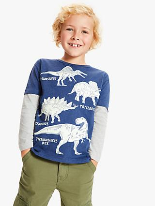 John Lewis & Partners Boys' Glow In The Dark Dinosaur T-Shirt, Navy