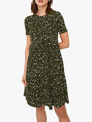 Warehouse Leopard Print T-Shirt Dress, Green Print