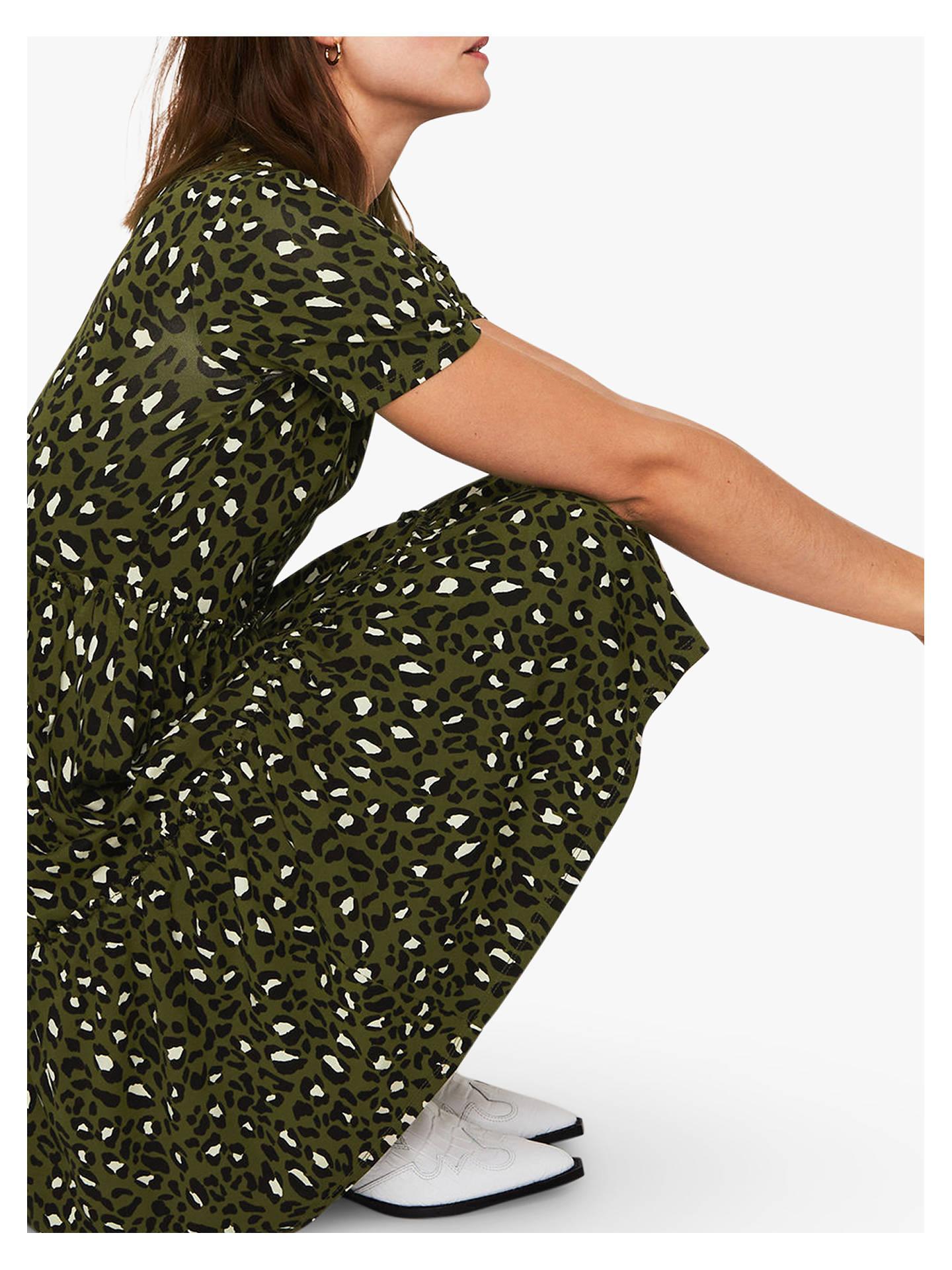 86e445e397db ... Buy Warehouse Leopard Print T-Shirt Dress, Green Print, 8 Online at  johnlewis ...