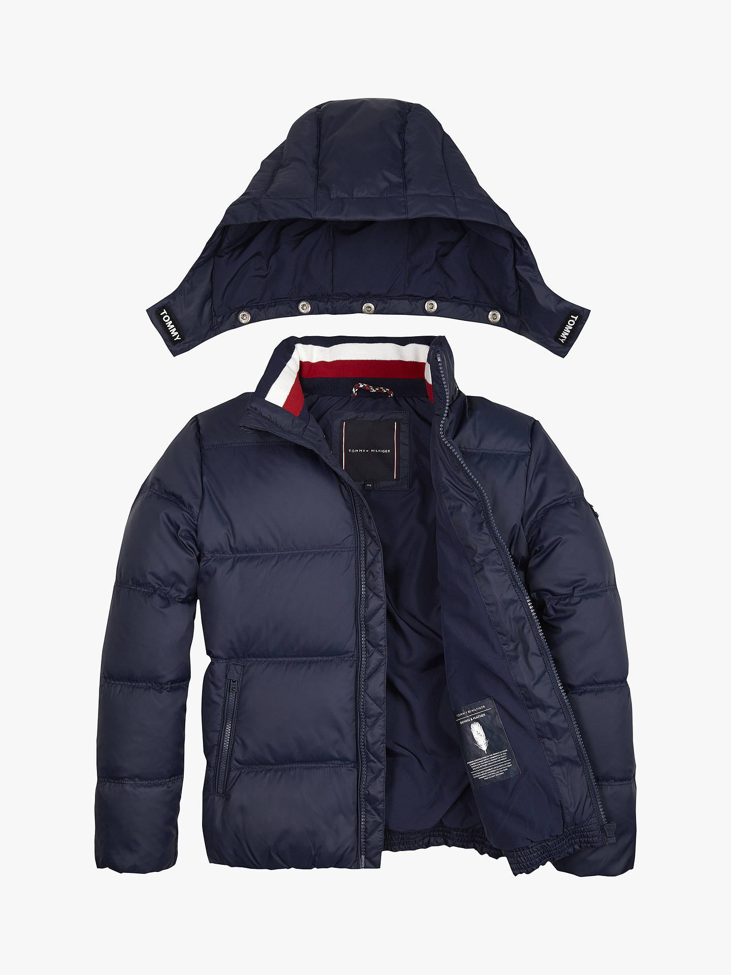buy best choice casual shoes Tommy Hilfiger Boys' Down Jacket, Navy at John Lewis & Partners