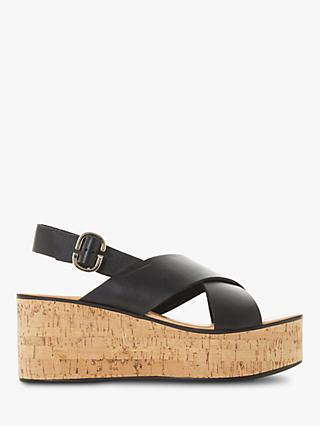 d008947951bf Dune Kati Leather Cork Wedge Slingback Sandals