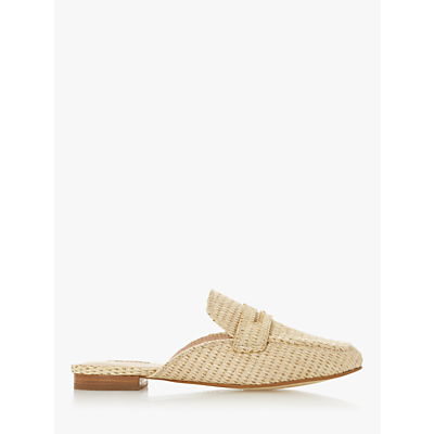Dune Gardenia Saddle Strap Mule Loafers, Natural Raffia