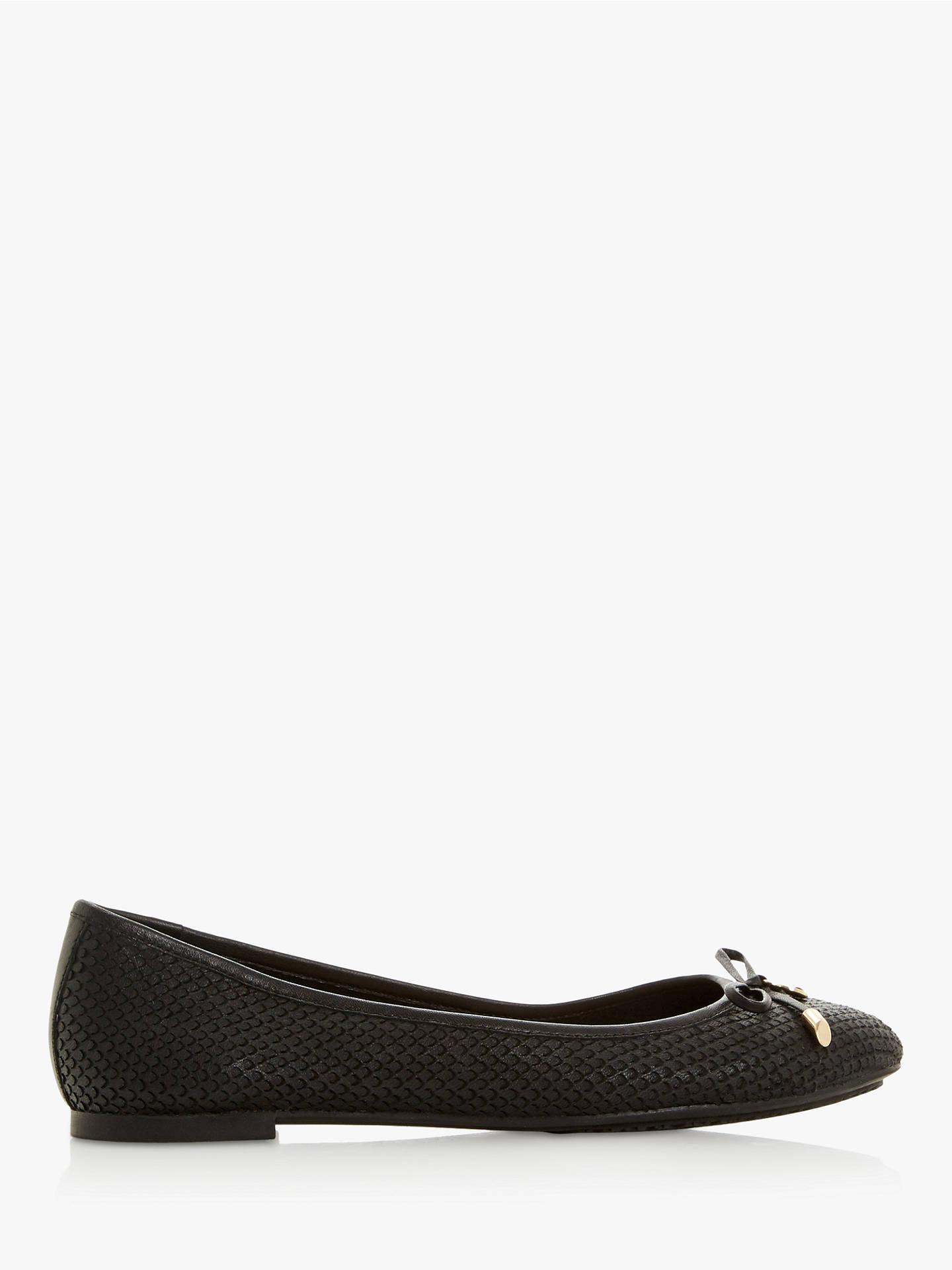 diverse styles purchase cheap fantastic savings Dune Wide Fit Harpar Bow Detail Ballerina Pumps, Black Leather