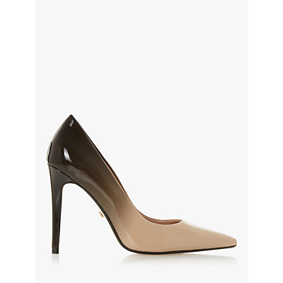 Dune Aivy Stiletto Heel Court Shoes, Black/Beige Patent