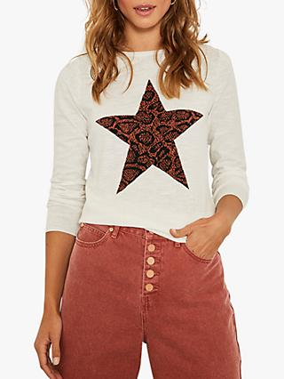 Mint Velvet Snake Star Cotton Jumper, Ivory