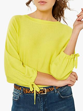 Mint Velvet Tie Cuff Knit Jumper, Yellow