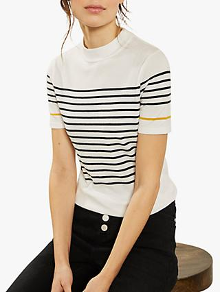 Mint Velvet Nautical Striped Fitted Top, Ivory/Multi