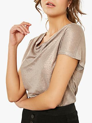 Mint Velvet Shell Cowl Neck Linen Top, Light Pink