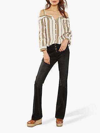 dc36e6fde5f6e0 Mint Velvet Stripe Button Through Cold-Shoulder Top