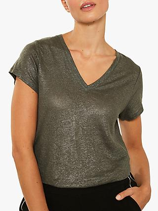 Mint Velvet Shimmer V-Neck T-Shirt