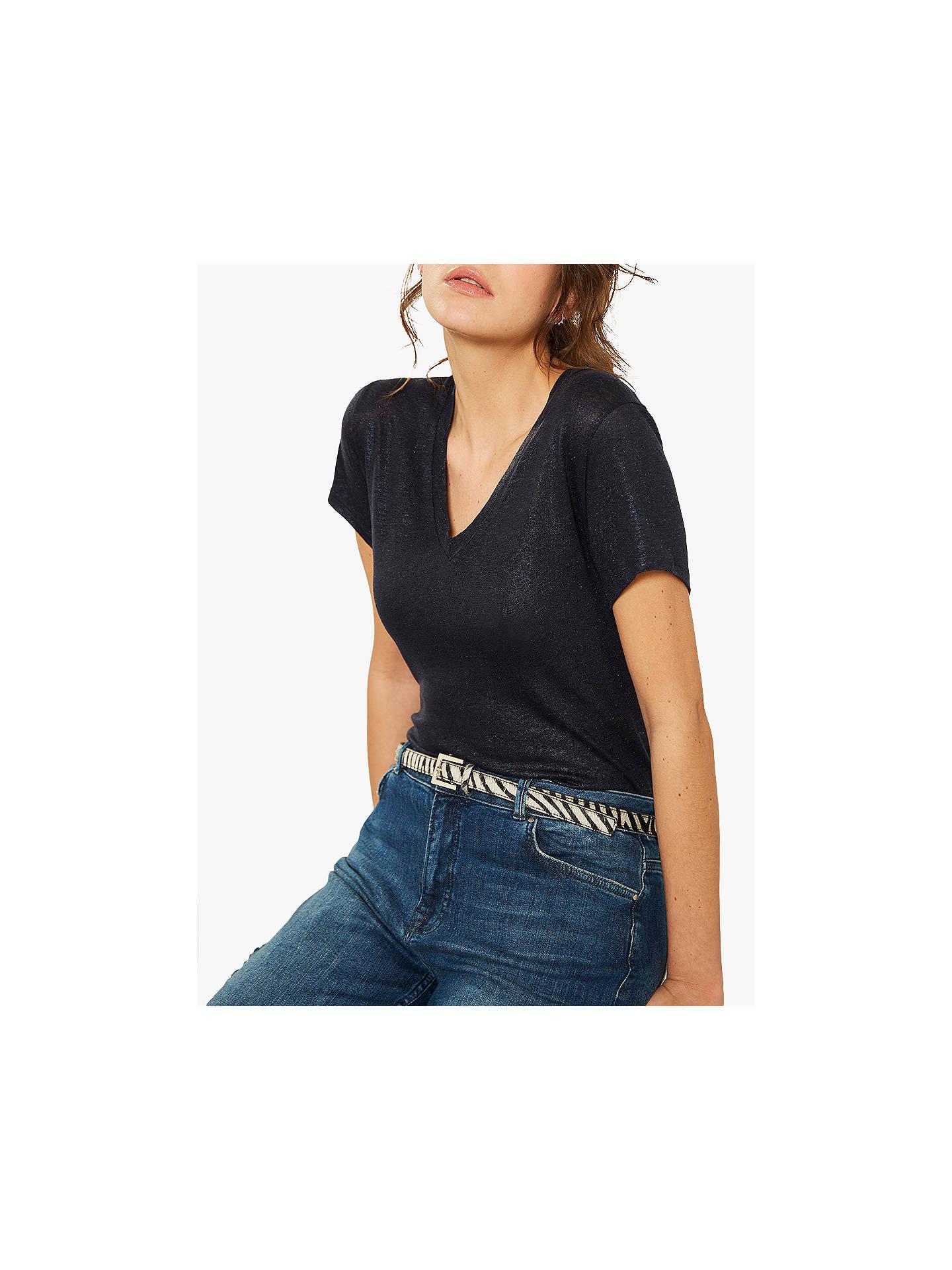 f1505d5c9240 Buy Mint Velvet Shimmer V-Neck T-Shirt, Dark Blue, S Online ...