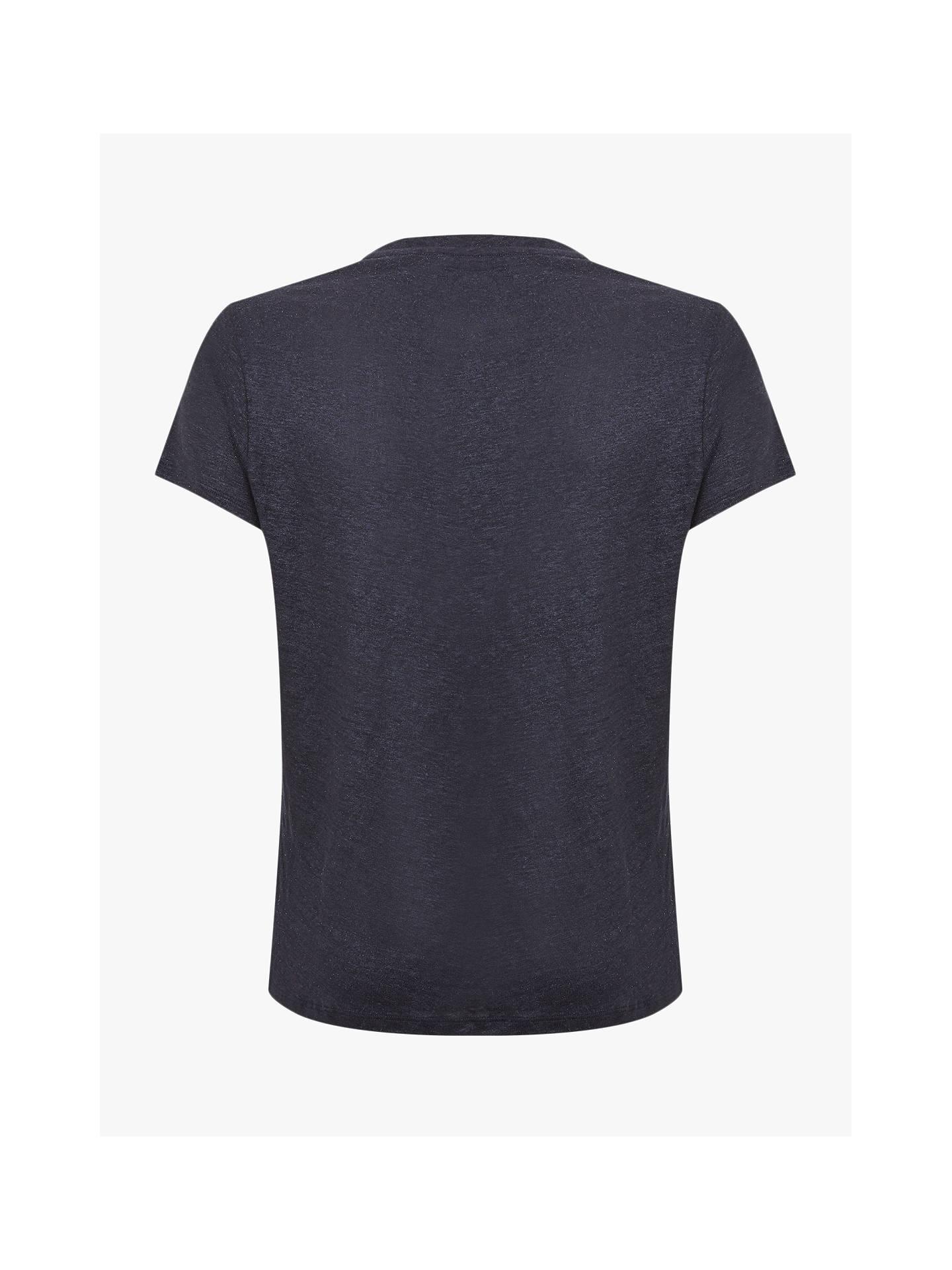 75b590dcdc84 ... Buy Mint Velvet Shimmer V-Neck T-Shirt, Dark Blue, S Online