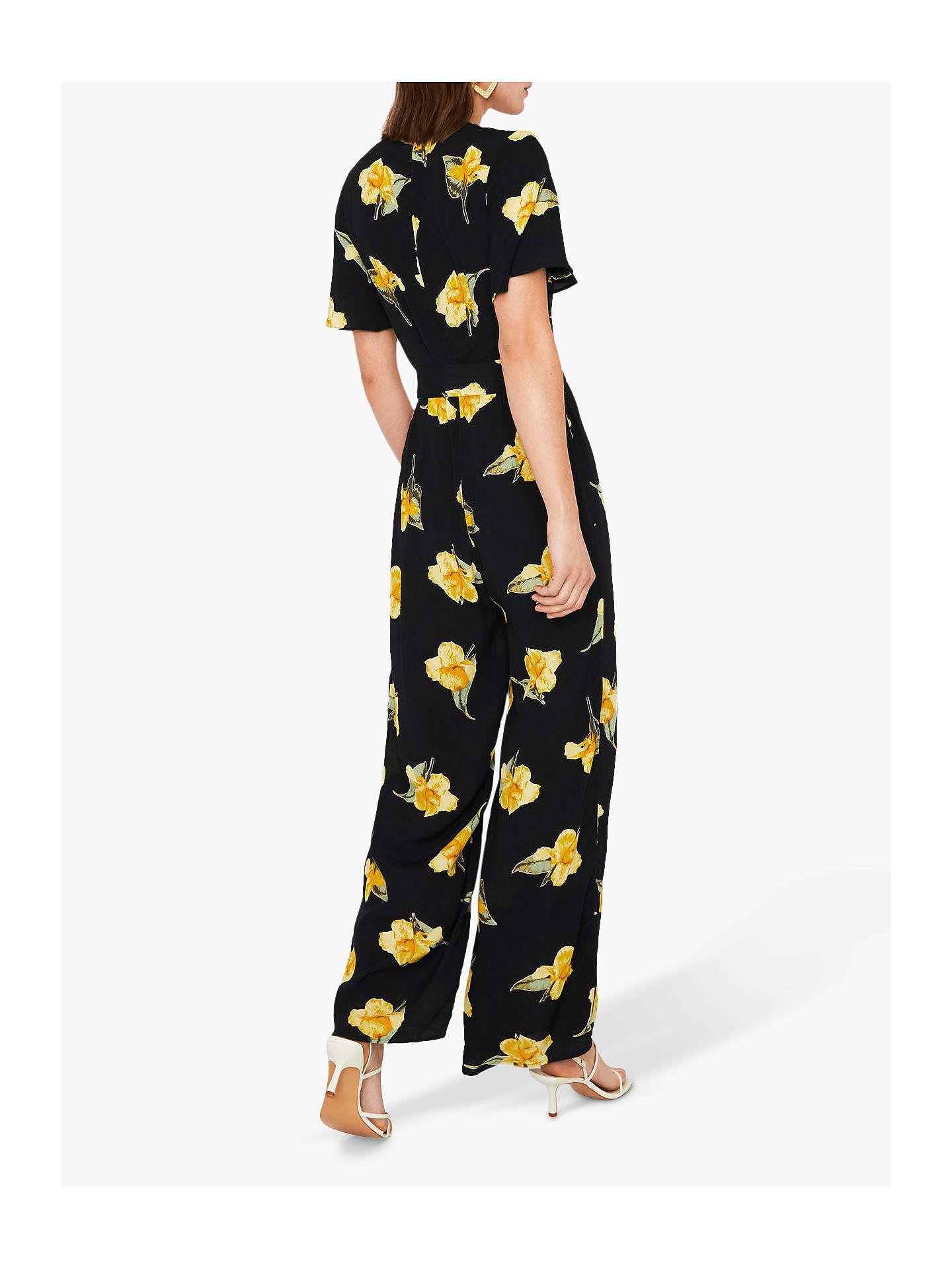 Warehouse Katy Floral Jumpsuit, Black at John Lewis & Partners