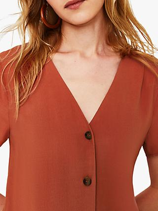 Warehouse Button Front Blouse, Orange