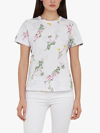 6337b55494d2 Ted Baker Malvani Floral Print Slogan T-Shirt