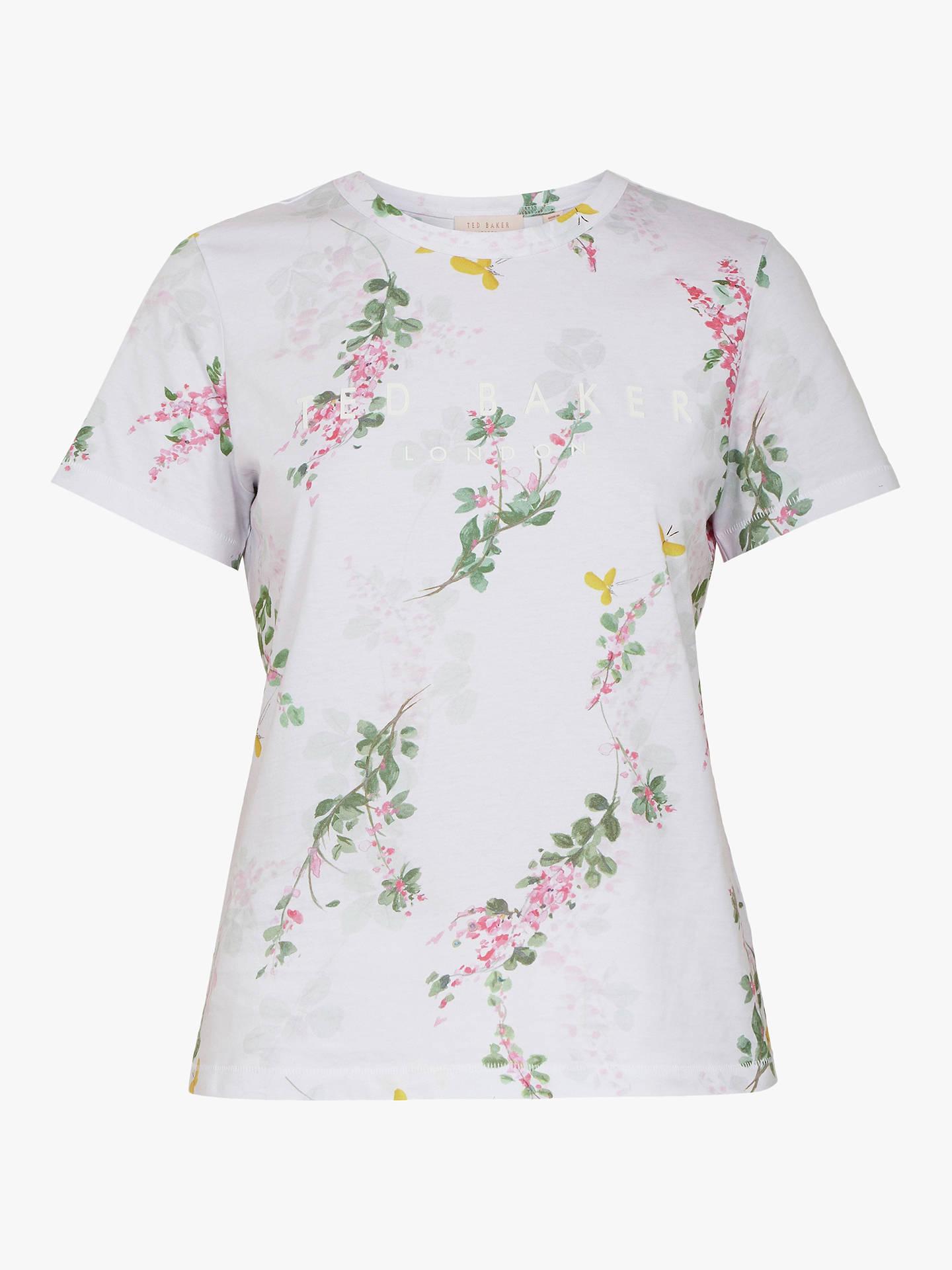 dce847cf1cd233 ... Buy Ted Baker Malvani Floral Print Slogan T-Shirt, White, S Online at