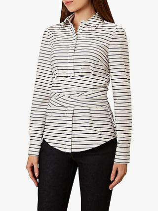 Hobbs Angelica Waist Detail Cotton Shirt, White/Navy