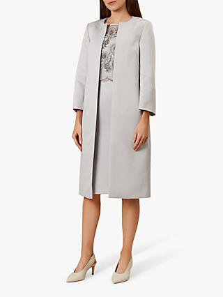 Hobbs Anna Tailored Collarless Coat, Silver