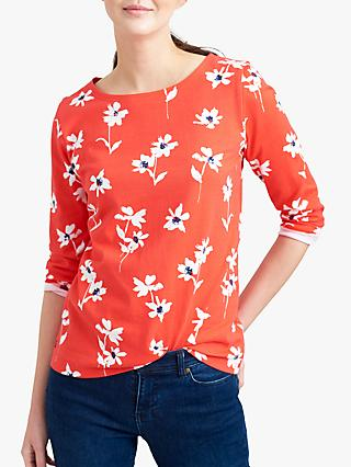 Joules Harbour Floral Cotton Top, Red Daisy