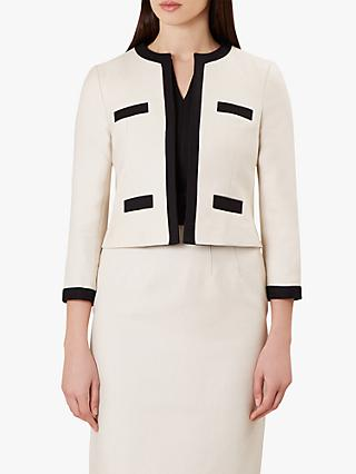 Hobbs Alison Cotton Jacket, Neutral/Black