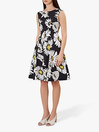 Hobbs Rhona Floral Flared Dress, Black/Multi