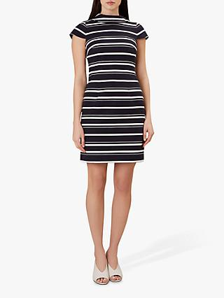 Hobbs Aleah Stripe Cotton Dress, Navy/White