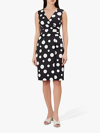 Hobbs Elsa Spot Print Pencil Dress, Black/Ivory
