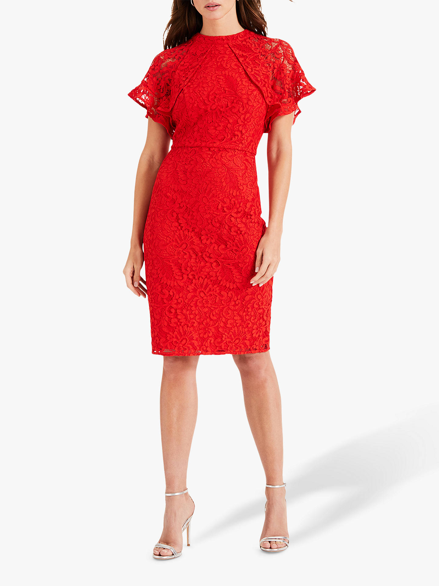 Buy Phase Eight Luisa Lace Dress, Red, 6 Online at johnlewis.com