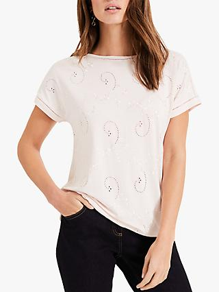 Phase Eight Minnie Embroidered T-Shirt, Pale Pink
