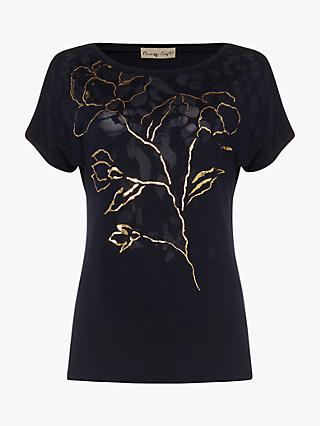 Phase Eight Mya Foil Floral Print Top, Navy