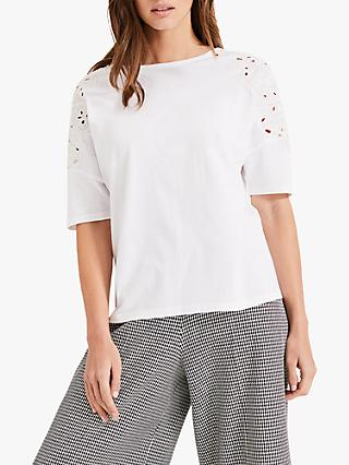 Phase Eight Kaley Cutwork T-Shirt, White